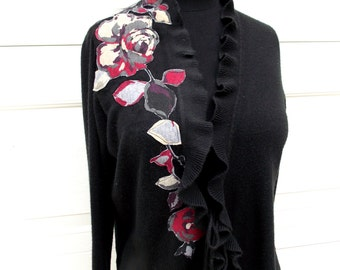 Floral Cardigan Sweater Small Medium S/M