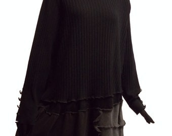 3x Lagenlook Sweater Tunic Eco Friendly Plus Recycled Fashion Ruffled Black Charcoal Gray XXXL