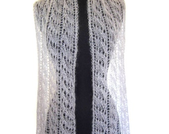 Silver Gray Lace Scarf, light and lovely