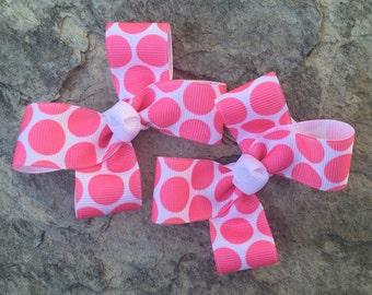 Pair of Bubble Pink Polka Dot Clippies
