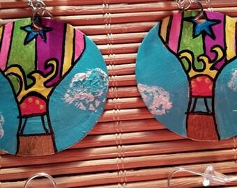 Hot air balloon recycled bottle cap earrings