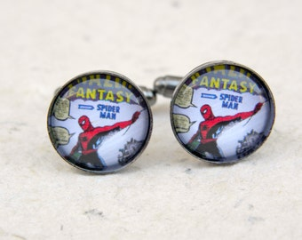 Spiderman Spider Man Cufflinks Cuff Link Set - Great gift for Spider-Man Comic Book Fan - Can also be made into a necklace