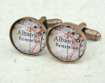 Albany Map Cufflinks - Albany, New York Cuff Link Set - Choose your favorite map from 25 choices - Custom Map Accessories and gifts