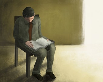 The Reader ---  Digital Print 13x19 Inches Digital Painting