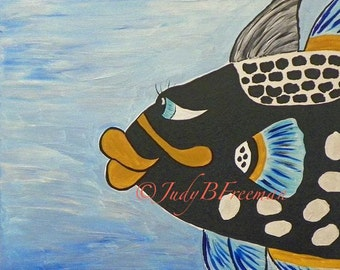 Fish Painting Whimsical Acrylic on 20 x 16 Canvas Clown Triggerfish Ready to Ship PTG008