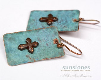 Hand Forged Rustic Copper Earrings - Religious Jewelry -E895