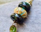 Lampwork Glass Beaded Lariat Necklace Interchangable Boro Borosilicate Handmade - Welcome to the Jungle