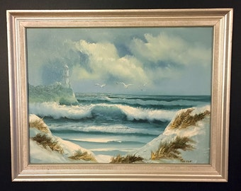 Oil painting lighthouse beachscape seascape by Reston