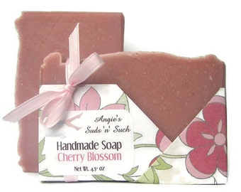 Cherry Blossom Soap with Rose Clay - Handmade Soap - Vegan Soap - Cold Process Soap - Spring in Washington DC - Floral Scent - Wrapped Soap