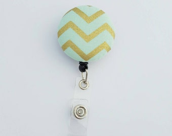 Retactable ID Badge Reel / ID Badge Holder / Name Badge Clip / Badge Pull / Nurse Badge Reel / Retractable Badge Holder - Aqua Gold Chevron