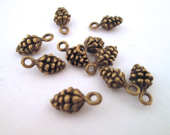 Brass plated pine cone charms, pick your amount, D38