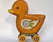 Fok Art Duck Hand-Painted Wooden Sculpture Original Contemporary Ducky OOAK