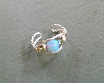 Ear Cuff Sterling Silver Wire with Blue Opal Bead