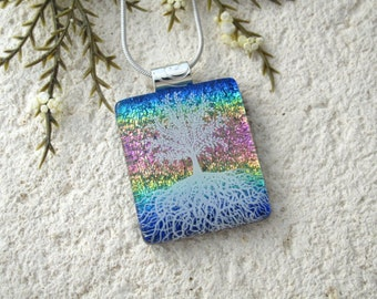 Tree of Life, Fused Glass Jewelry, Dichroic Pendant, Dichroic Jewelry, Rooted Tree,  Rainbow, Nature Jewelry, Silver Chain, ,070916p102