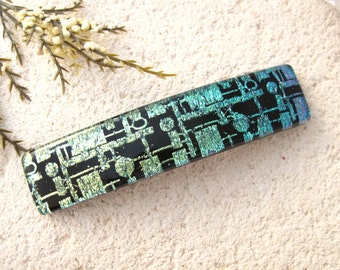 Medium Hair Barrette, French Barrette, Contemporary Barrette, Dichroic Jewelry, Fused Glass Barrette, Dichroic Barrette, 031619ba101