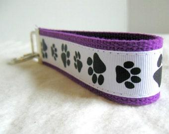 Paw Print Key Fob - Black White on PURPLE Key Chain - Cat Paw Print Wristlet - Dog Paw Print - Panther Paw Print - School Mascot Key Ring