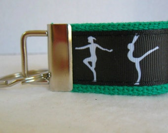 Gymnastics Mini Key Fob - Small Key Chain - Tumbling Key Fob - GREEN Black - Gymnast Zipper Pull - Gymnastic Key Ring