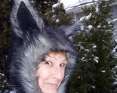 Were Wolf Hat Furry Alley Cat Gray Black Hood Adult Unisex Geek Animal Hat Halloween Costume Christmas Gift Hat Huge Ears Furry Hood