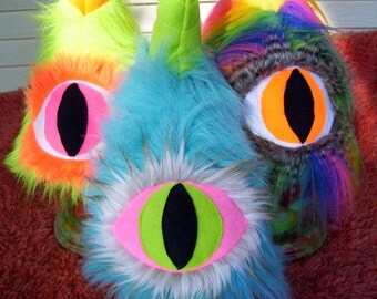 Cyclops Monster People Eater Adult Costume Hat Furry One Horn Eye Ready to Ship Neon Rainbow Turquoise Halloween Costume Fur Hat