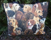 Dogs tote bag,  knitting project tote bag, Working Dogs, The medium Fleur wide