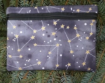 Constellations large clutch, optional wristlet or shoulder strap, diabetic supply case, Pick Your Color, The Morning Glory
