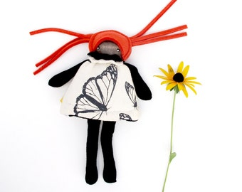 Flip doll- handmade butterfly girl culture diversity soft toy for imaginative play organic cotton felt wood montessori learning toy heirloom