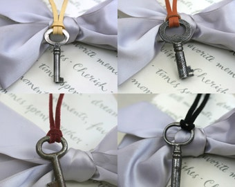 Skeleton Key necklace with choice of deerskin or suede - Five more options just added