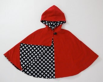 Little Red Riding Hood Cape Halloween Costume with Flannel Lining | Baby, Toddler, Girls Cape - Sizes Newborn to Girls 9/10 - Cloak, Coat