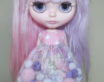Pink Stars and Unicorns pom-pom dress for Blythe and Pullip