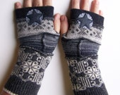 Fingerless Gloves - handmade, one of a kind!  Grey strips from different patterns and textures.  Repurposed wool and cashmere sweaters.