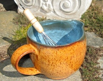 Batter Bowl with Handle - Oatmeal and Turquoise Blue