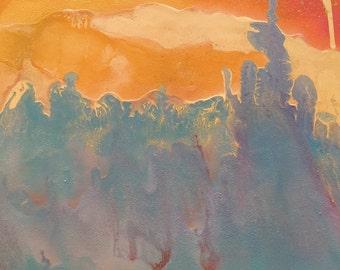 Ocean City 20x20 original abstract spray paint painting