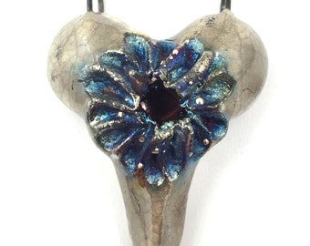 RESERVED LISTING for alidmc Raku Ceramic Heart Pendant Jewelry Handmade Gifts         by MAKUstudio