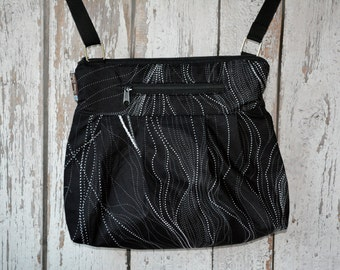 Tablet Pocket Crossbody Purse - iPad Pocket Cross Body Bag - Crossbody Purse - Shoulder Purse -  MEDIUM or Large HOBO BAG Star Trails Fabric