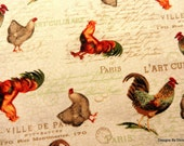"One Yard Cut Quilt Fabric, ""French Country Roosters by Candace Metzger for Red Rooster Fabric, Quilting, Sewing, Craft Supplies"