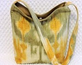 Ikat Shoulder Bag, Ikat Handbag, Gray and Yellow Fabric, Hobo Bag Purse, Ikat Purse, Ladies Boho Ikat Medium Purse, Handmade Gift Under 50