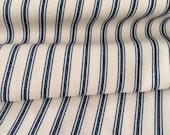 Navy ticking stripe fabric - one yard