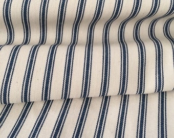 Navy ticking stripe fabric - one yard