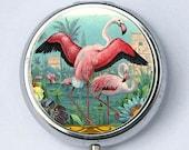 Pink Flamingos pillbox pill case box holder vintage illustration birds nature pretty
