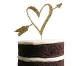 Heart and Arrow Dessert Topper - Gold Glitter