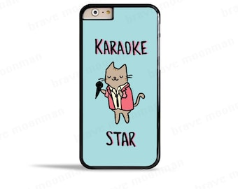 iPhone 7 Case Karaoke Star Cute iPhone 6s Case Karaoke Cat 80s Music Lover Gift Cute Cat Samsung Galaxy S7 Case