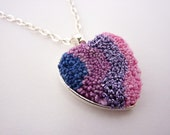Textile Heart and Silver Plated Metal Pendant With Chain