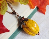 Sihaya Designs Pumpkin Pendant - Halloween Jack O Lantern Necklace - Carved Magnesite with Mixed Metal accents