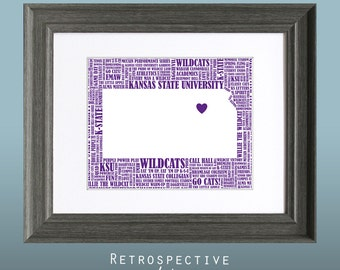 K-State Wildcats Word Art Map Printable