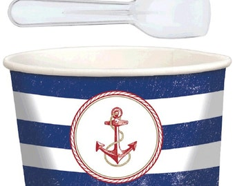 Anchors Aweigh Paper Treat Cups-9oz.-NEW-16pc. (8cups and 8 spoons)