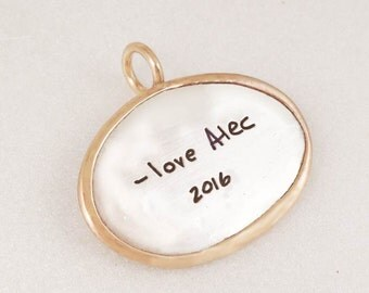 Handwriting Oval Pendant Gold Wrapped Sterling by donnaodesigns