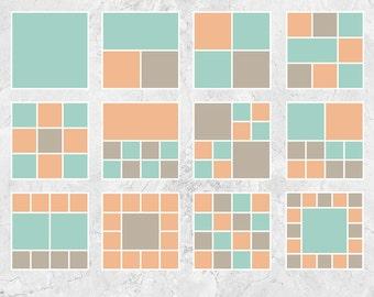 "Storyboard Templates, Blog Board Templates, Digital Collage Templates, Photo Collage Templates - 12""x12"" - S201"