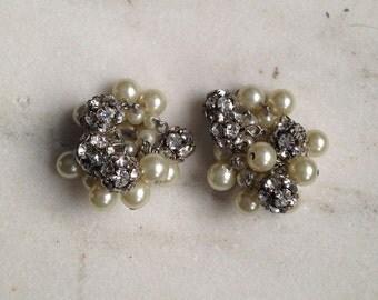 Vintage Earrings, Clip On, Rhinestones, Cluster, Faux Pearls, Evening, Formal, Wedding, 1950's