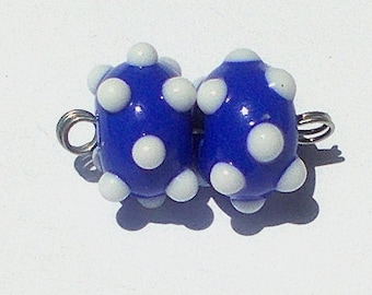 Made To Order Lampwork Bead Pair White on Blue Cheryl's Art