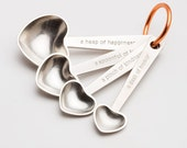 beehive quotes measuring spoons, pewter, measuring spoons, tablespoons,teaspoons,kitchenware,gift for cooks,baking,cooking,valentine's,heart